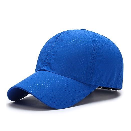 b349e88689d73 BeFur Unisex Sports Baseball Cap Summer Mesh Plain Hat Sun Visor Curved Dad  Hats - Azure