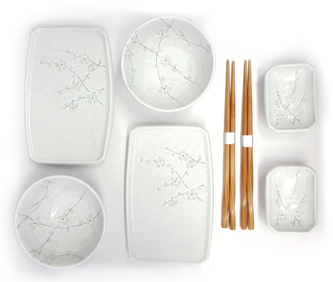 Happy Sales 8 Piece Japanese Cherry Blossom Dinnerware Set, White - 8 pc. Plate & Bowl Set with Chopsticks Cherry blossom design in white color dinnerware set Classic porcelain sushi plates and wasabi dishes. - kitchen-tabletop, kitchen-dining-room, dinnerware-sets - 61BmFcsaSzL -
