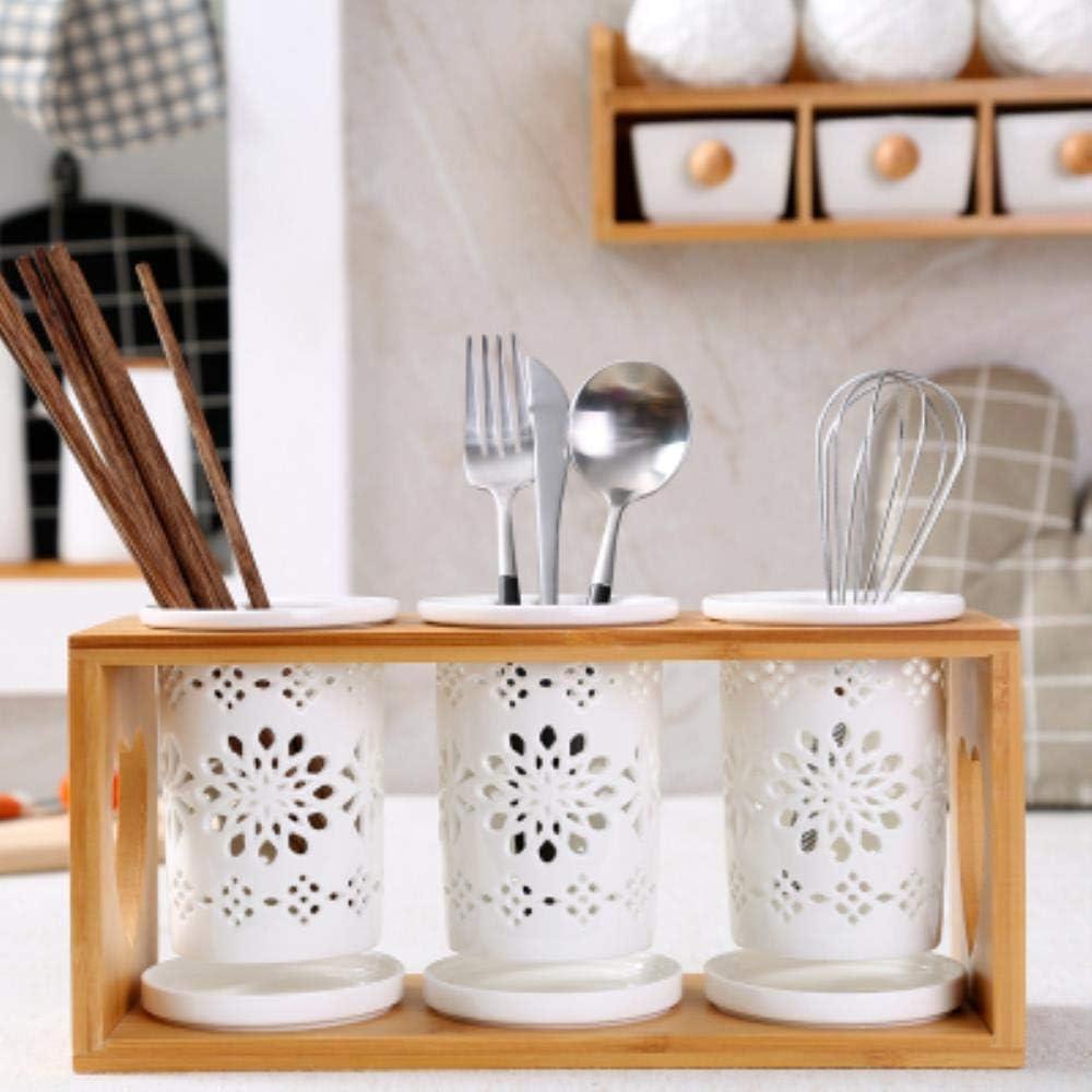 KKRIIS Porta Palillos de cerámica Estilo japonés Palillos Barril Tres Estante de Drenaje Palillos creativos Jaula Palillos de Madera Huecos, 6