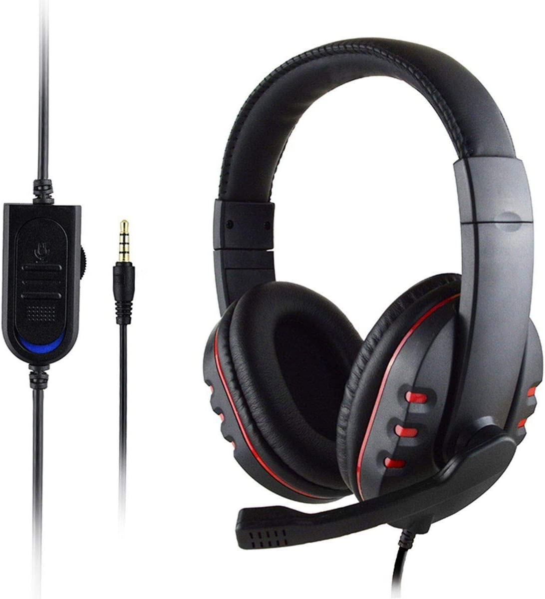 Camidy Over Ear Headphones with Mic for Gaming,3.5mm Jack Wired Headset with Stereo Surround Microphone for PS4 Laptop Phones Home