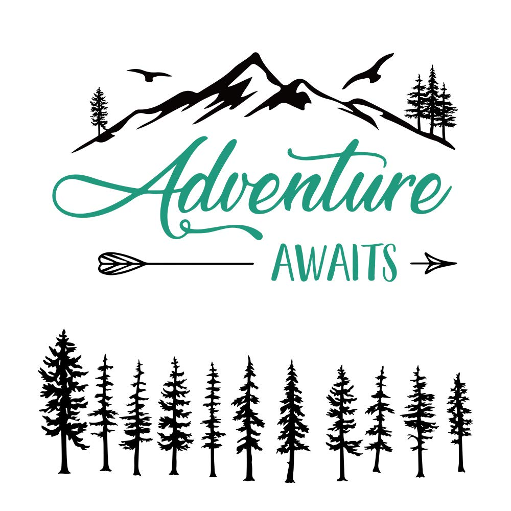 Funny Adventure Awaits Outdoors Hiking Camping Mountains Travel Vinyl Wall Art Decal Sticker, Family Home Decor Removable Vinyl, for Bedroom Living Room, Home Decor Decal Sticker (11.8''×23.6'')