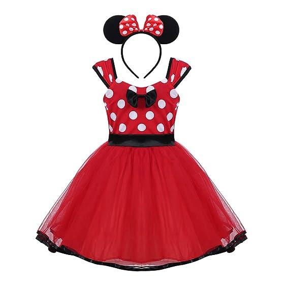 MSemis Vestido Tutú Lunares Fiesta Boda para Bebés Disfraz Princesa Rosa Niñas Traje Señorita Ratoncita con Diadema Regalo Disfraces Fiesta Halloween