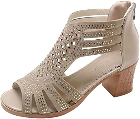 Zapatos de tacón Ancho Altas Vestir Romano para Mujer Otoño PAOLIAN Calzado de Cuña Dama Hueco Negras Moda Calzado de Trabajo Fiesta con Rhinestone Zapatos de Boca de Pescado Boda