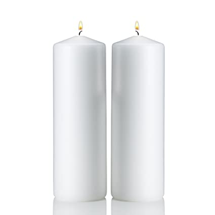 Amazoncom Light In The Dark White Pillar Candles Set Of 2