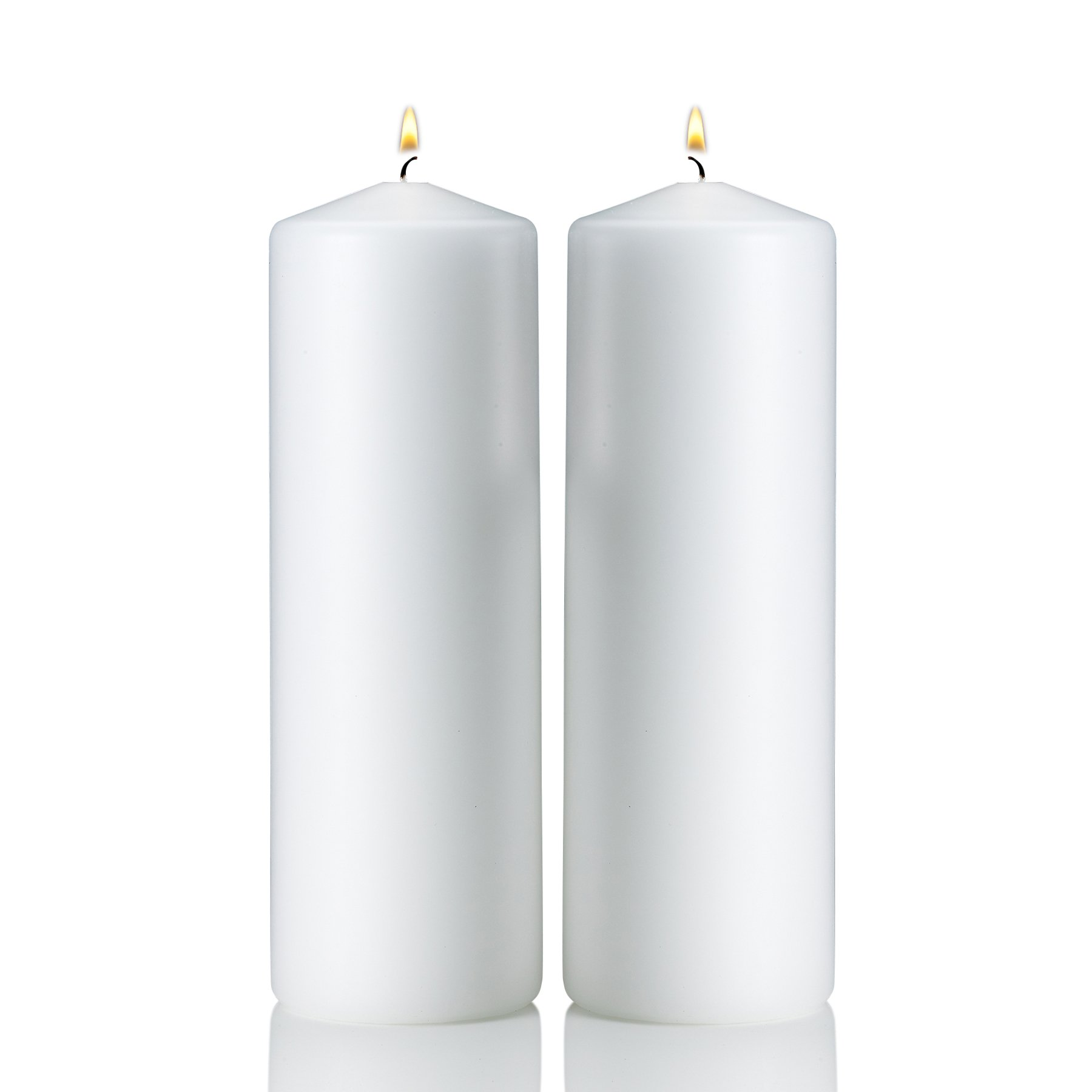 White Pillar Candles - Set of 2 Unscented Candles - 9 inch Tall, 3 inch Thick - 90 hour Clean Burn Time