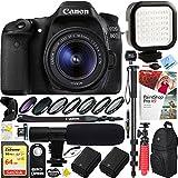 Canon EOS 80D 24.2 MP CMOS Digital SLR Camera w/EF-S 18-55mm f/3.5-5.6 IS STM Lens with 64GB SDXC Dual Battery & Shotgun Mic Pro Mobile Video Bundle