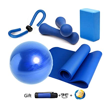 Essential Yoga Starter Set Kit 5pcs,1Yoga Mat,1 Yoga Block,Pelota de