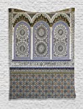 Ambesonne Arabian Decor Tapestry Wall Hanging, Nostalgic Moroccan Architecture with Stone Carving and Motifs Majestic Ottoman Empire Artsy, Bedroom Living Room Dorm Decor, 60 W x 80 L inches, Multi