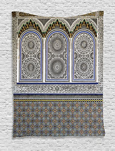 Arabian Decor Tapestry Wall Hanging by Ambesonne, Nostalgic Moroccan Architecture with Stone Carving and Motifs Majestic Ottoman Empire Artsy, Bedroom Living Room Dorm Decor, 60WX80L Inches, Multi