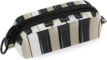 Estuche para lápices con diseño de piano musical, color blanco y negro, para artículos de papelería escolar, estuche para cosméticos con cremallera: Amazon.es: Oficina y papelería