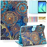 SM-T350 Case, Galaxy Tab A 8.0 Case, Dteck(TM) Protective Synthetic Leather Smart Wallet Case with [Auto Sleep Wake] Cute Cartoon Flip Stand Cover for Samsung Galaxy Tab A 8.0 Tablet-Gold Flower