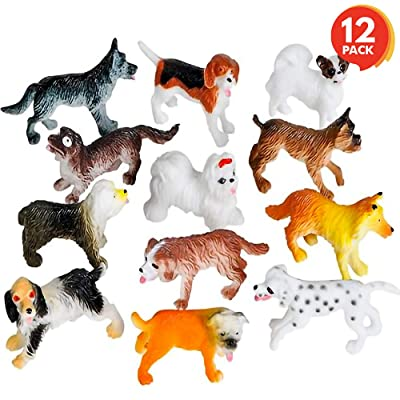 ArtCreativity Mini Dog Figurines Set for Kids - Pack of 12 - Assorted 2 Inch Small Puppies, Sturdy Plastic Toys, Fun Birthday Party Favors, Great Playset for Boys and Girls Ages 3+: Toys & Games
