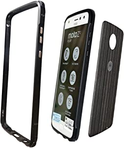 Dngn Moto Z2 Play Case,[with 1 Back Film ] Aluminum Metal Bumper Frame Cover Compatible with Moto Mods Protective for Motorola Moto Z2 Play(Black)