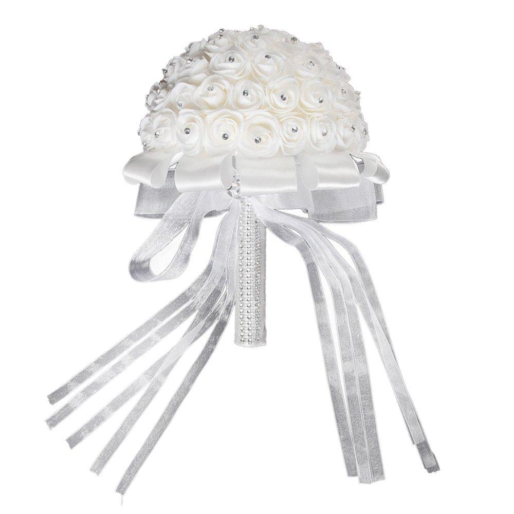 DICPOLIA ブライダルブーケ ハンドメイド ブライダル人工フォームローズ フラワーブーケ 結婚式 花嫁 パーティー 装飾 花束 Free Size ブラック B07GW2CM4K ホワイト