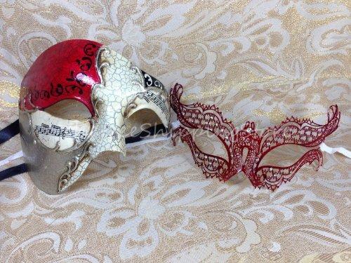 Romeo & Juliet Couple Venetian Masquerade Mardi Gras Costume Halloween Mask II - Celebrity Couples Halloween