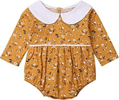 Newborn Infant Toddler Baby Girls Ruffle Floral Romper Jumpsuit Bodysuit Clothes