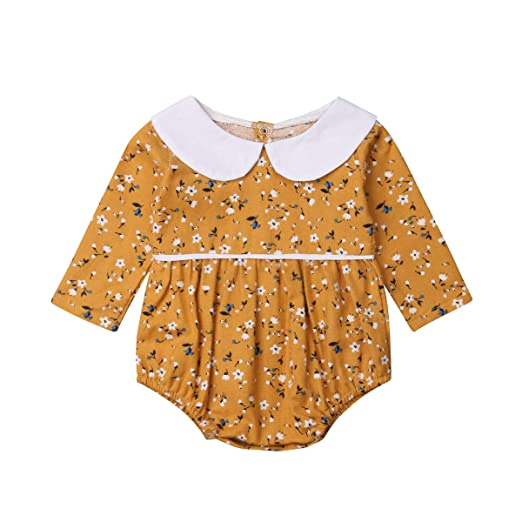 5fffd3381e4 Infant Baby Girls Floral Romper Long Sleeve Bodysuit Jumpsuit Outfit with Peter  Pan Collar 0-