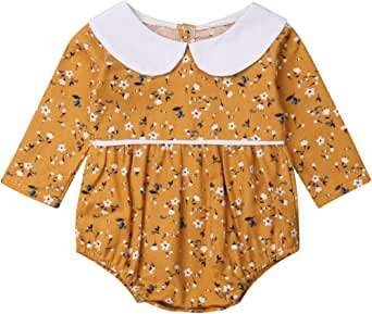Infant Baby Girls Floral Romper Long Sleeve Bodysuit Jumpsuit Outfit with Peter Pan Collar 0-18 M