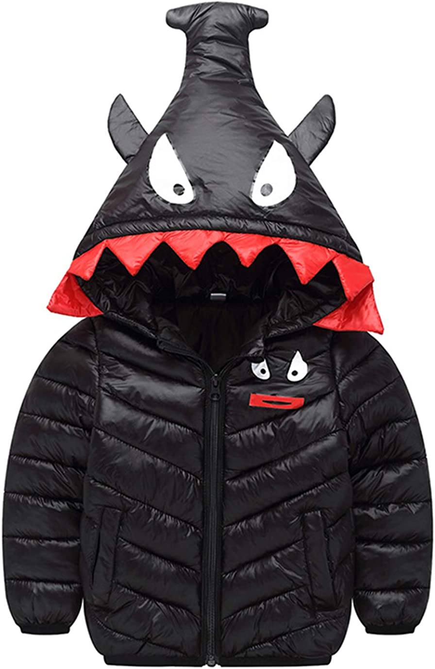 Happy Cherry Toddler Winter Down Coat Cute Hood Cotton Puffer Jacket Lightweight Windproof Outwears