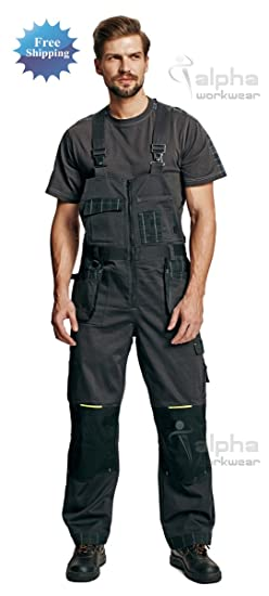 Mens Work Trousers Bib and Brace Dungarees Overalls Grey Style Max 100/% Cotton.