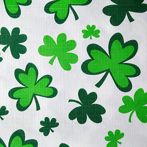 St. Patrick's Day Shamrocks Flannel-Backed Vinyl Table Cover | Party Tableware
