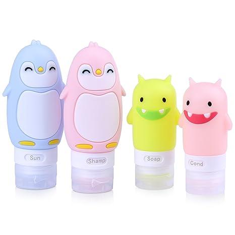 Botellas de Viajes Set 4 Piezas de Silicona a Prueba de Fugas BPA Viaje de Aire