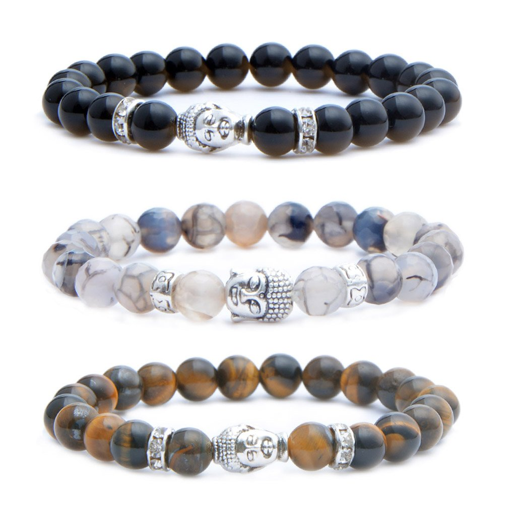 MIKINI Mens Womens 8MM Healing Gemstone Buddhist Prayer Beads Bracelet, Alloy Buddha Head, 7'', Elastic (Black Agate & Dragon Vein Stone & Tiger Eye Stone)