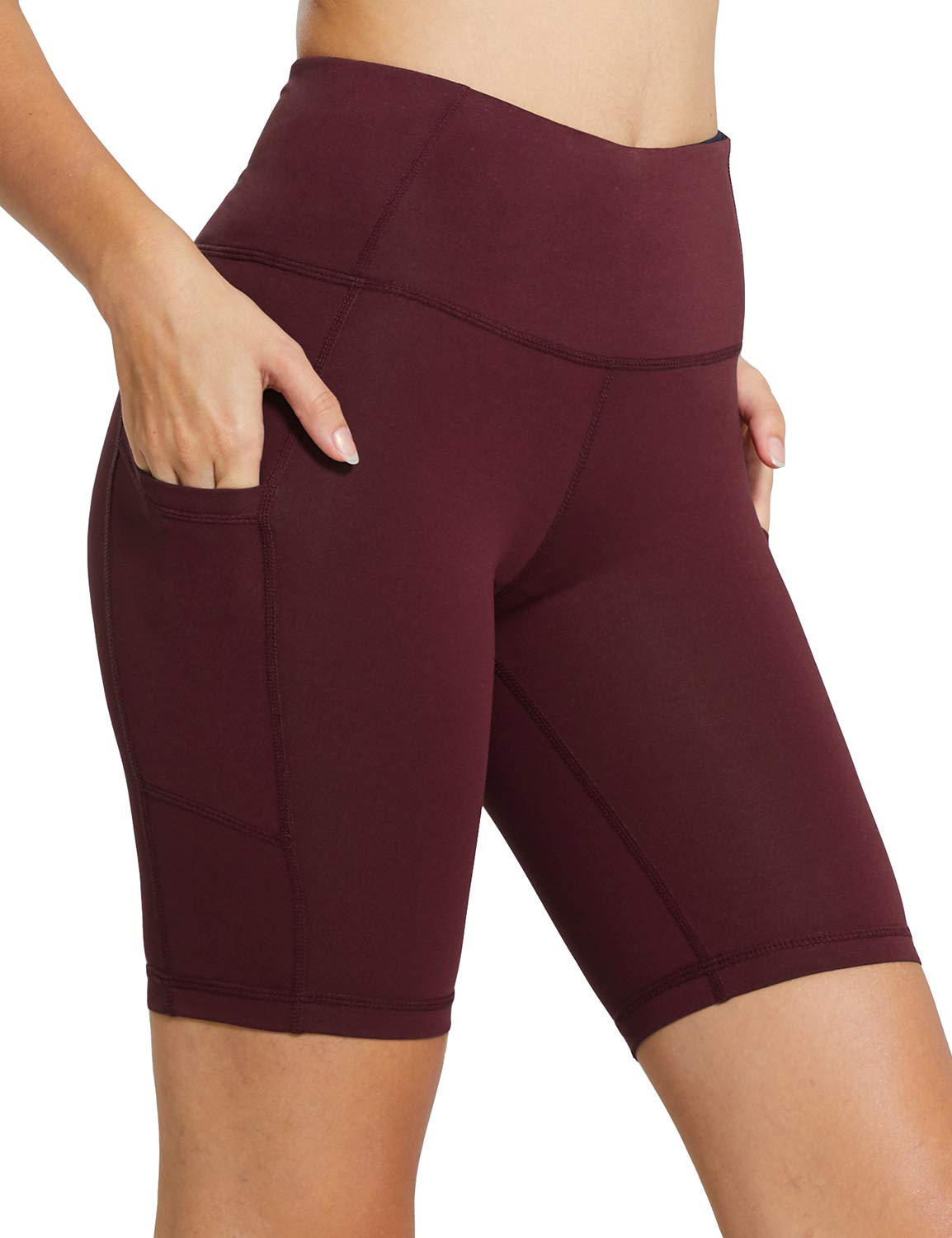BALEAF Women's 8'' High Waist Tummy Control Workout Yoga Shorts Side Pockets Ruby Wine Size XL by BALEAF
