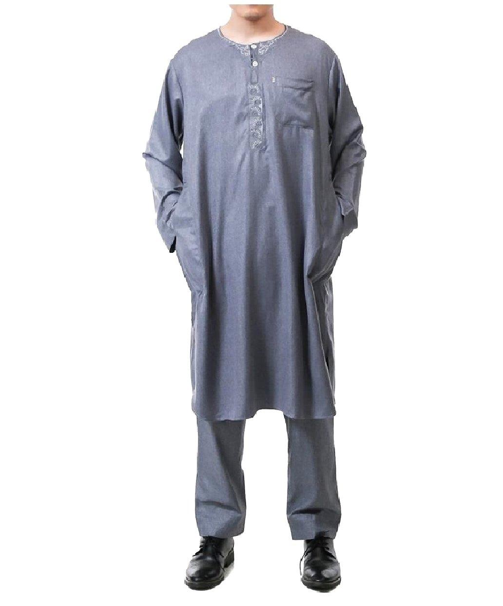 Abetteric Mens 2-Piece Cotton Linen Blend Islamic Muslim Salwar Suit Sets Dark Grey 60