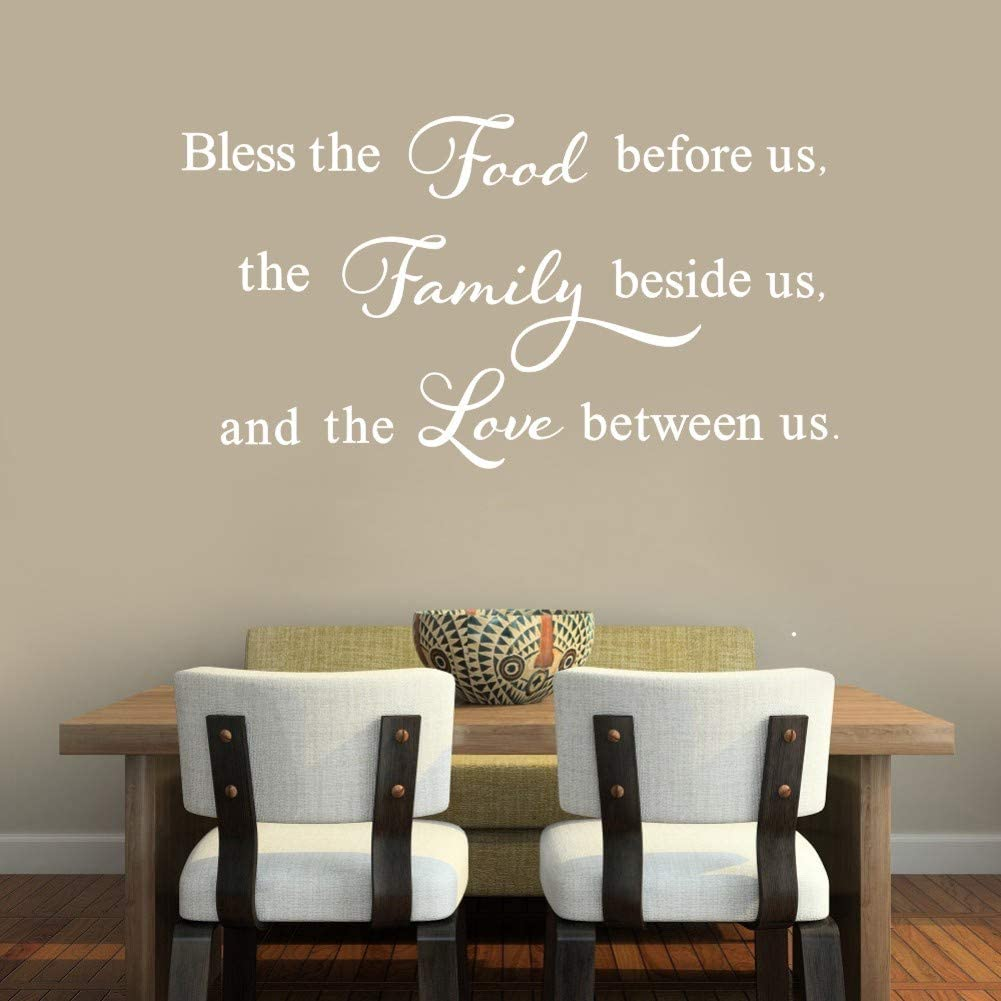 TOARTI Bless This Food Before Us,The Family Beside Us, and The Love Between Us Wall Decal, Inspirational Quote Sticker for Kitchen Dining Room Decor, Motivational Family Love Positive Attitude Decal