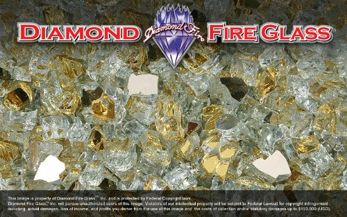 Fire Pit Fireplace Diamond Fire Glass – 5 Pound Bag – 24k Gold Reflective Nugget