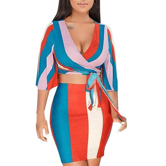 Zarupeng Las Mujeres de Moda Raya Impresa Manga Corta Tops Paquete Falda de Cadera de Dos Piezas Set: Amazon.es: Ropa y accesorios