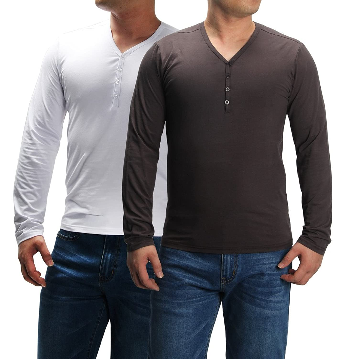 4How Men's Casual T-Shirts Long Sleeves Undershirt