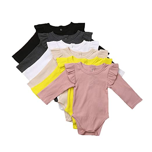 a91bfc4b6a87 Unisex Baby Boy Girl Long Sleeve Ruffle Romper Bodysuit Jumpsuit Tops  Sweatshirt Winter Fall Spring Clothes