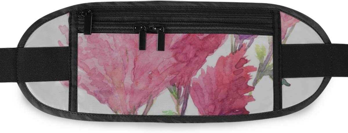 Travel Waist Pack,travel Pocket With Adjustable Belt Pink Astilbe Flowers Running Lumbar Pack For Travel Outdoor Sports Walking