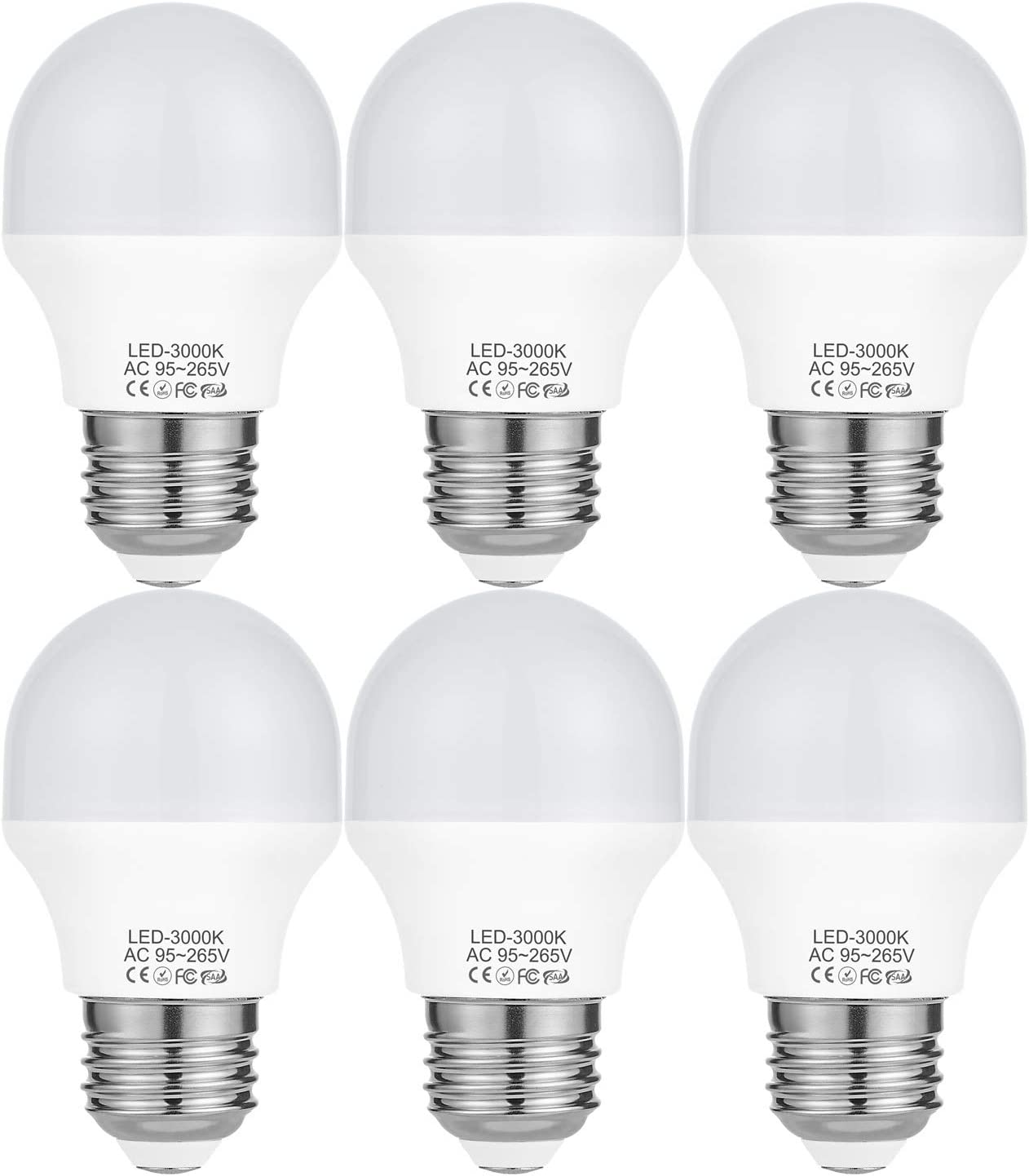 4W LED A15 Light Bulb(40Watt Equivalent),E26 Medium Base LED Flood Bulb G50 Bulbs,3000K Soft White LED Bulbs Not Dimmable 120Volt 360Lumens-6 Pack