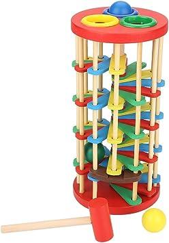 Hztyyier Pelota de Madera Juguete Escalera de Colores Golpe de Martillo Juguetes de educación temprana Escaleras Fuertes de Preescolar Niños preescolares: Amazon.es: Juguetes y juegos
