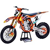 450 SX-F #2 Cooper Webb with Supercross #1 Plate Stickers Red Bull Factory Racing 1/10 Diecast Motorcycle Model by New Ray 58