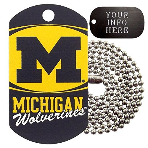 Customized Michigan Wolverines NCAA Military Dog Tag Necklace