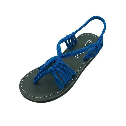 f3d58e72e ❤️Flats Sandals Toe Shoes❤️Baomabao Wine Gray Blue Women Flip Flops Roman  Braided Rope