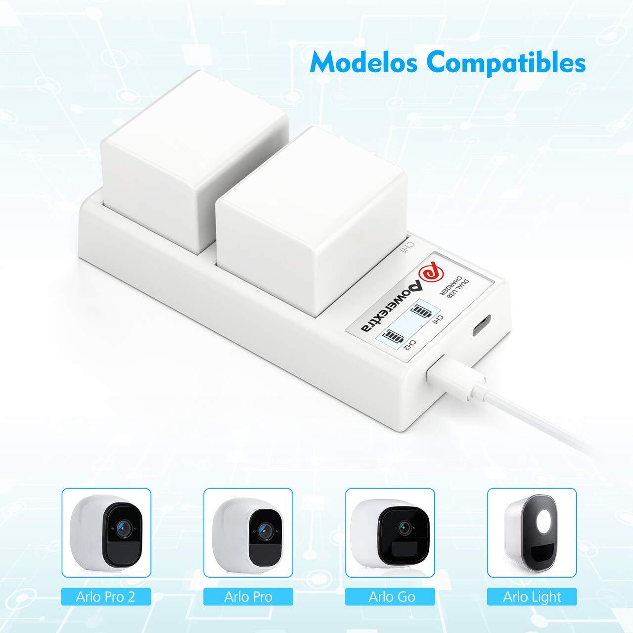 Powerextra Estación de Cargador de Batería Arlo, Cargador de Batería Dual con Adaptador para Arlo Pro, Arlo Pro 2, Arlo GO Cámara de Seguridad Arlo Light