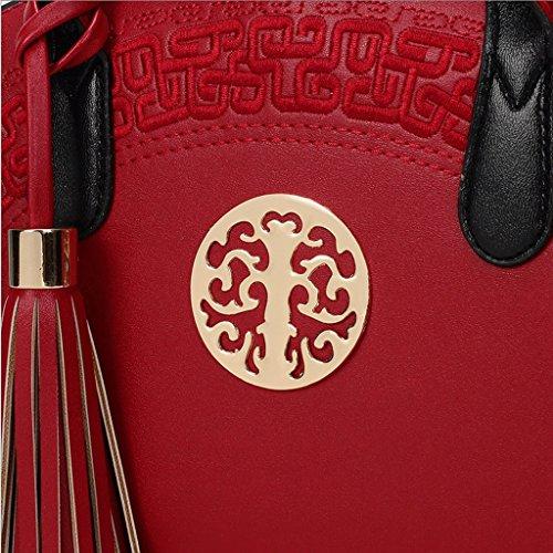 della Colore Pacchetto stile ZHYW nuziale stile Rosso grande cinese ricamato sacchetto spalla della di borsa borsa del diagonale nuziale nuziale Nero di rossa RAxwdgqxTE