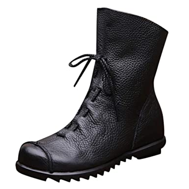 5e874ecf052c Amazon.com  Clearance!! Women s Retro Leather Ankle Boots