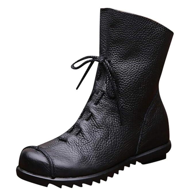 1707e3af31d56 Amazon.com: Hunzed Women Shoes Women's Leather Autumn and Winter New ...