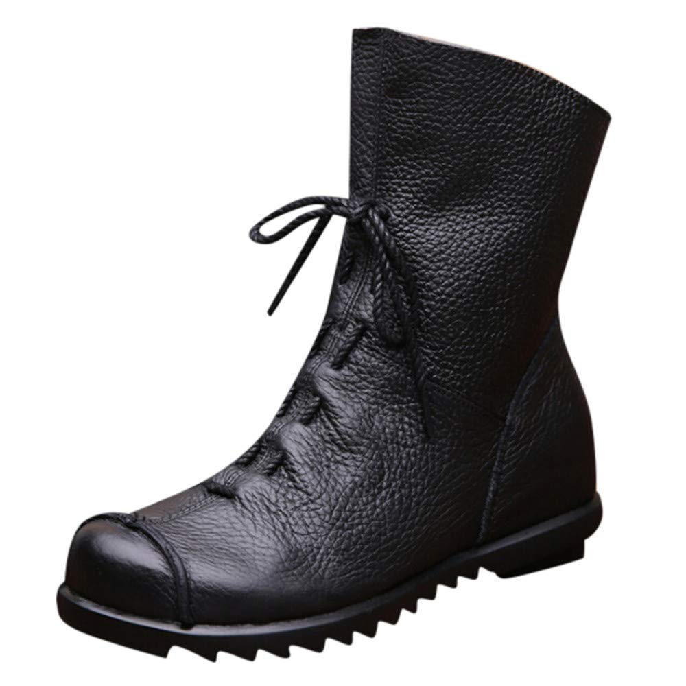 Clearance!! Women's Retro Leather Ankle Boots, Autumn Winter Casual Lace-up Low Heel Martin Boots Party Dress Shoes (Black, 5.5 B(M) US)