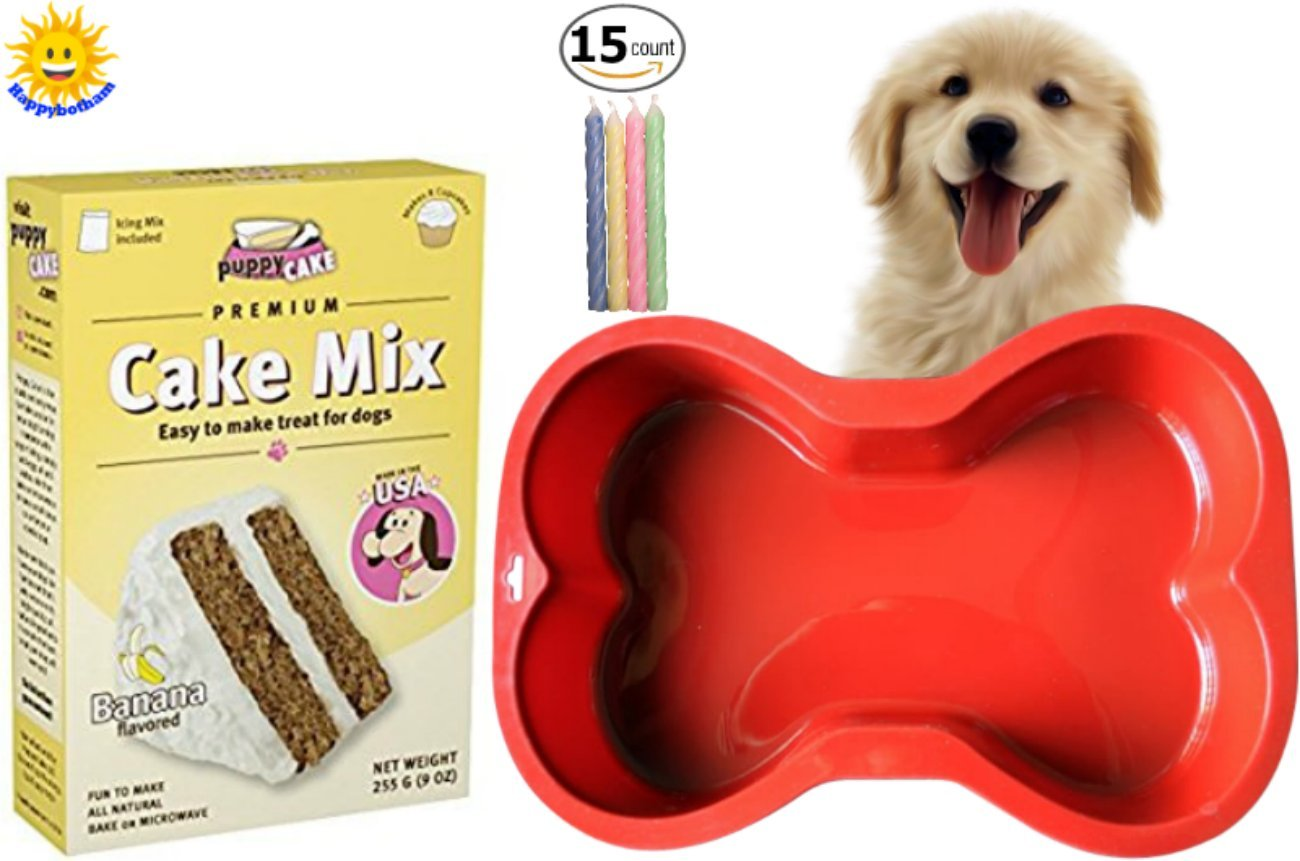 Happybotham Puppy Cake Banana Cake Mix Frosting Dogs | Red Silicone Dog Bone Cake Pan | Birthday Candles by Fire Hydrants and Frisbees