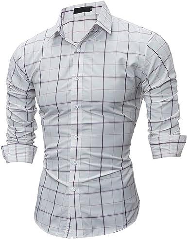 Usopu Camisa de Manga Larga Slim fit Cuadrada Casual de Hombre: Amazon.es: Ropa y accesorios