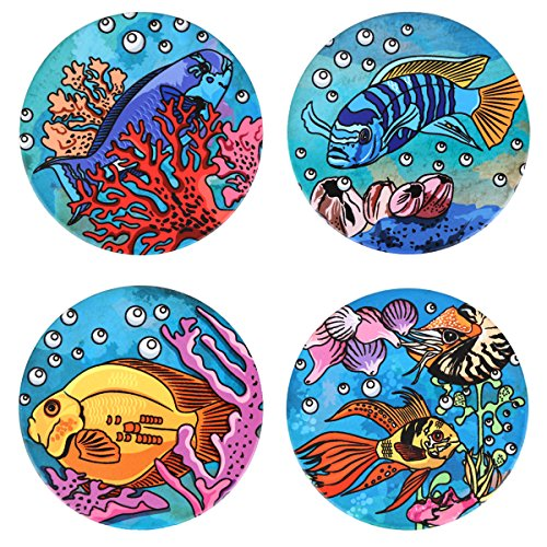 SxinHome Absorbent Ceramic Stone Coasters Set for Drinks,Marine Fishes,Set of ()