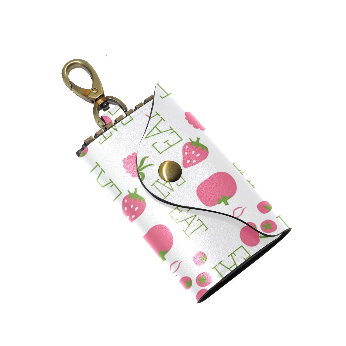 KEAKIA Pattern Leather Key Case Wallets Tri-fold Key Holder Keychains with 6 Hooks 2 Slot Snap Closure for Men Women