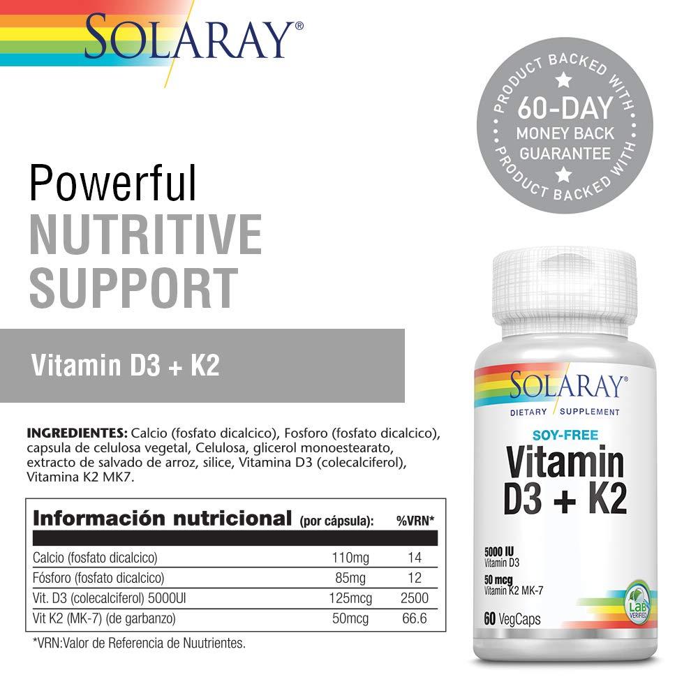 Vitamina D3 y K2 60 Cápsulas Solaray